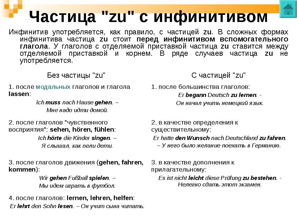 """Частица """"zu"""" с инфинитивом Инфинитив употребляется, как правило, с частицей z..."""