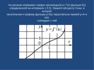 На рисунке изображен график производной y= f'(x) функции f(x) определенной на