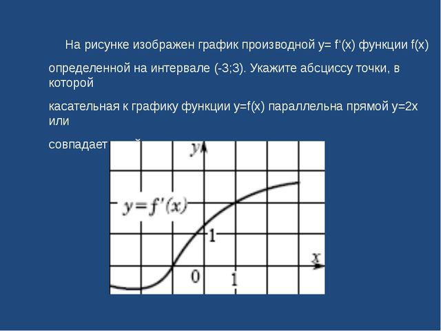 На рисунке изображен график производной y= f'(x) функции f(x) определенной н...
