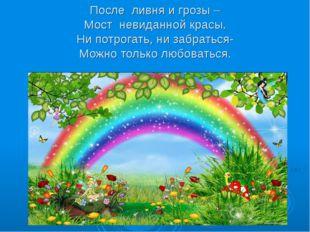 После ливня и грозы – Мост невиданной красы. Ни потрогать, ни забраться- Мо