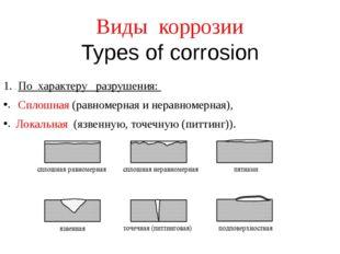 Виды коррозии Types of corrosion По характеру разрушения: Сплошная (равномерн