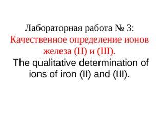 Лабораторная работа № 3: Качественное определение ионов железа (II) и (III).