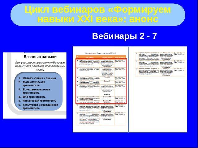 Цикл вебинаров «Формируем навыки XXI века»: анонс Вебинары 2 - 7