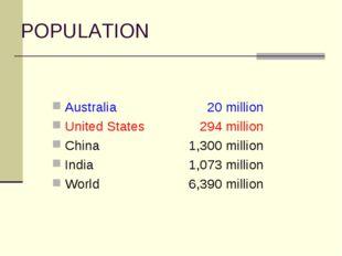 POPULATION Australia 20 million United States 294 million China1,300