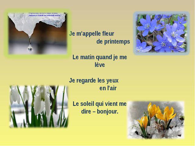 Je m'appelle fleur de printemps Le matin quand je me lève Je regarde les yeux...