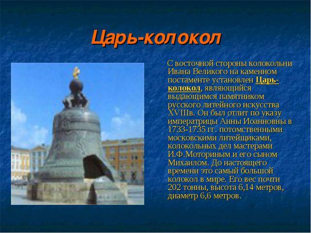 Царь-колокол С восточной стороны колокольни Ивана Великого на каменном постам...