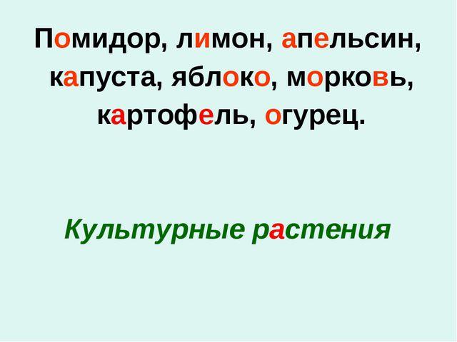 Помидор, лимон, апельсин, капуста, яблоко, морковь, картофель, огурец. Культу...