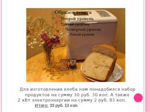 Для изготовления хлеба нам понадобился набор продуктов на сумму 30 руб. 30 к