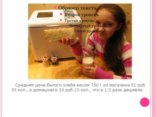 Средняя цена белого хлеба весом 750 г из магазина 51 руб. 33 коп., а домашне