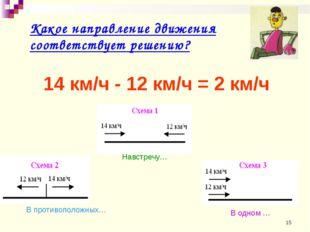 Какое направление движения соответствует решению? 14 км/ч - 12 км/ч = 2 км/ч