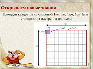 Площади квадратов со стороной 1км, 1м, 1дм, 1см,1мм – это единицы измерения п