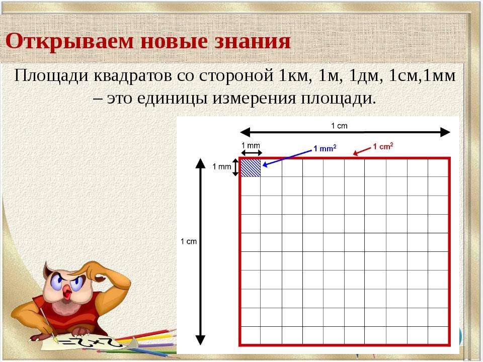 Площади квадратов со стороной 1км, 1м, 1дм, 1см,1мм – это единицы измерения п...