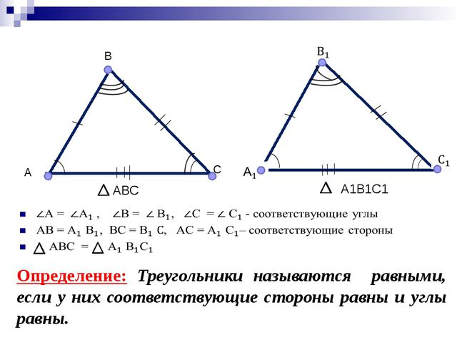 А С В АВС А1В1С1 Определение: Треугольники называются равными, если у них со...