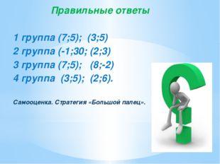 Правильные ответы 1 группа (7;5); (3;5) 2 группа (-1;30; (2;3) 3 группа (7;5