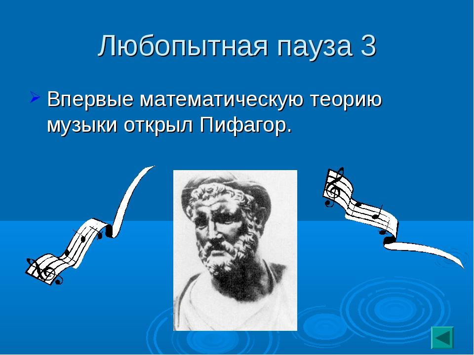 Любопытная пауза 3 Впервые математическую теорию музыки открыл Пифагор.