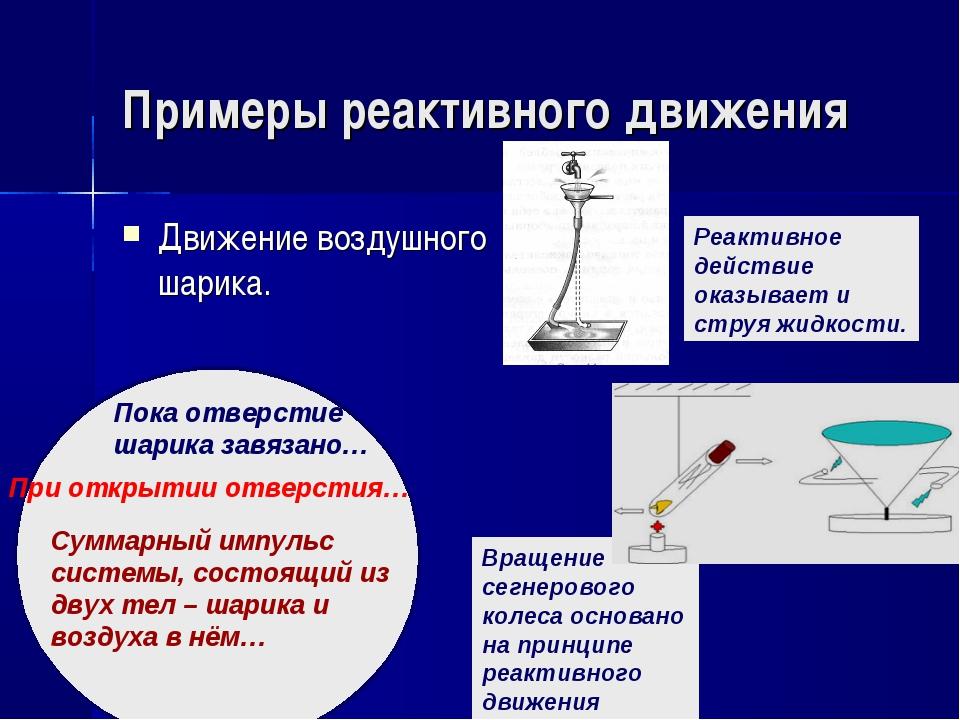Примеры реактивного движения Движение воздушного шарика. Пока отверстие шарик...