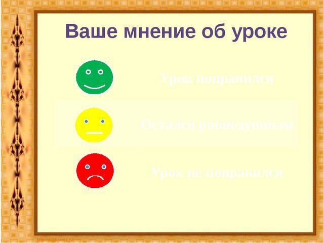 Ваше мнение об уроке Урок понравился Остался равнодушным Урок не понравился