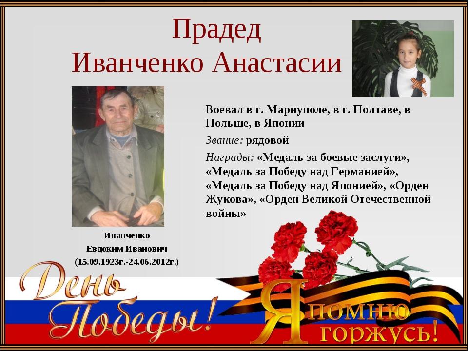 Прадед Иванченко Анастасии Иванченко Евдоким Иванович (15.09.1923г.-24.06.20...
