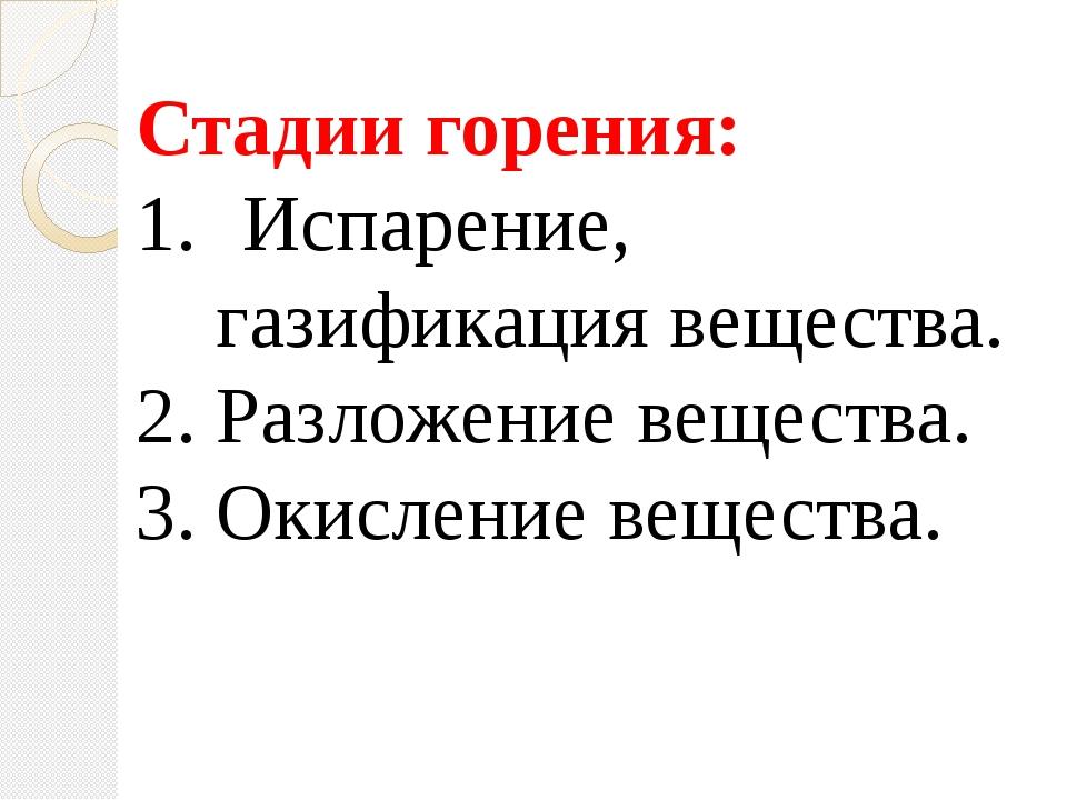 Стадии горения: Испарение, газификация вещества. 2. Разложение вещества. 3....