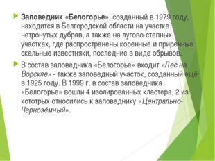 Заповедник «Белогорье», созданный в 1979 году, находится в Белгородской облас