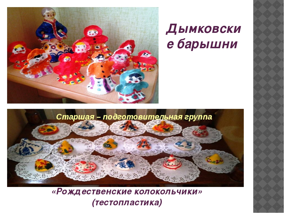 «Рождественские колокольчики» (тестопластика) Дымковские барышни Старшая – по...