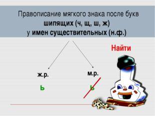 Правописание мягкого знака после букв шипящих (ч, щ, ш, ж) у имен существите