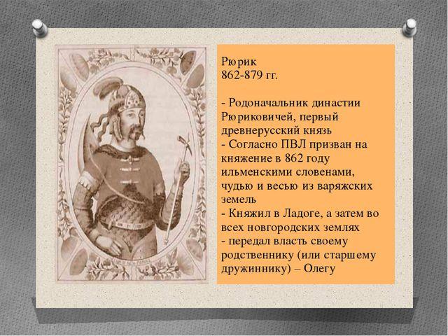 Рюрик 862-879 гг. - Родоначальник династии Рюриковичей, первый древнерусский...