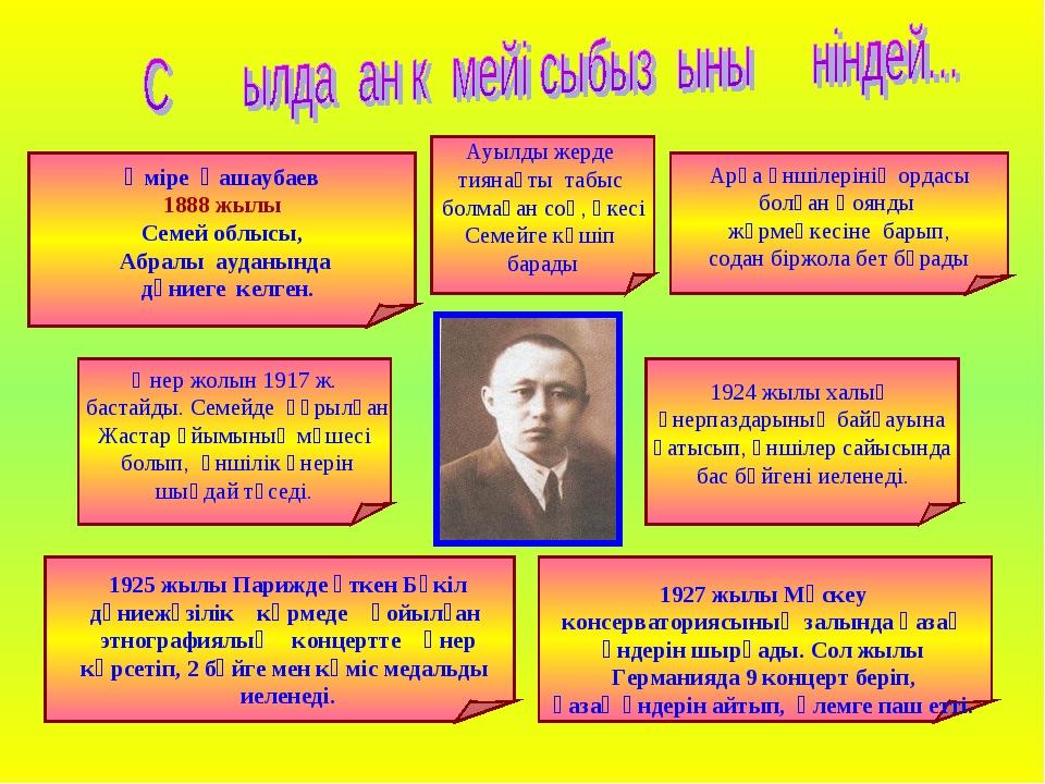 Әміре Қашаубаев 1888 жылы Семей облысы, Абралы ауданында дүниеге келген. Ауы...