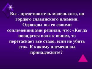 Вы - представитель маленького, но гордого славянского племени. Однажды вы со