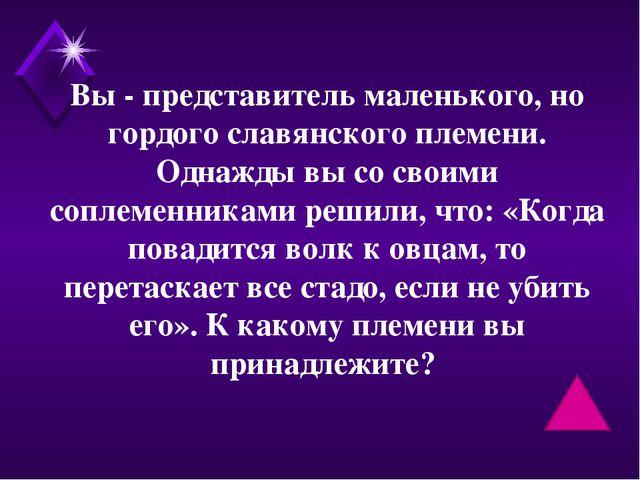 Вы - представитель маленького, но гордого славянского племени. Однажды вы со...