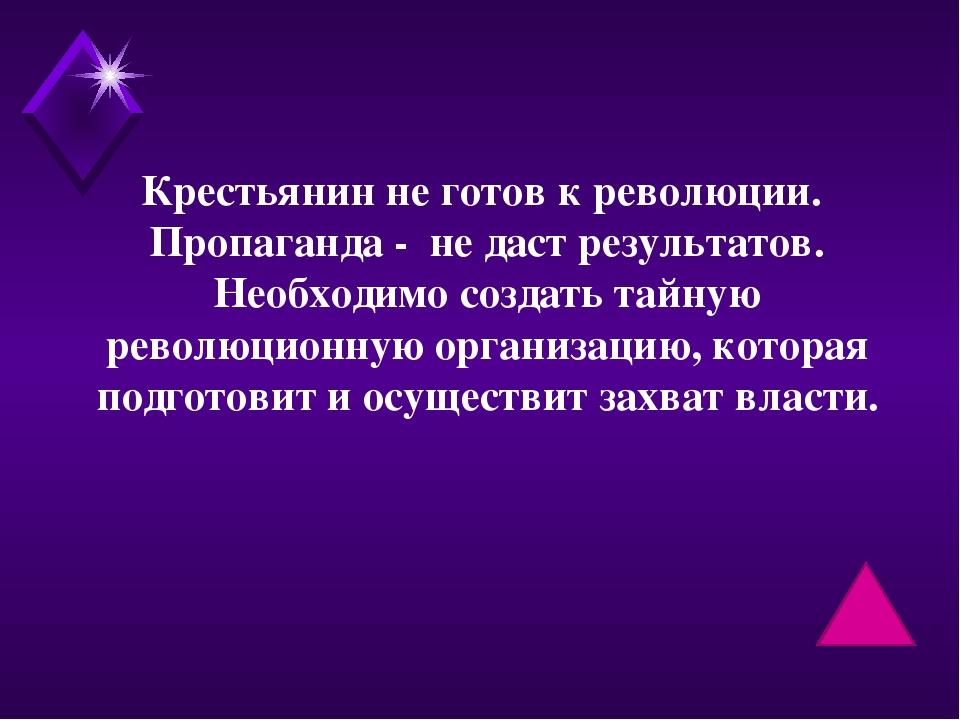 Крестьянин не готов к революции. Пропаганда - не даст результатов. Необходимо...