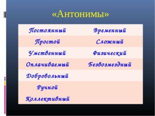 «Антонимы» ПостоянныйВременный ПростойСложный УмственныйФизический Оплачив