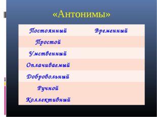 «Антонимы» ПостоянныйВременный Простой Умственный Оплачиваемый Добровольн
