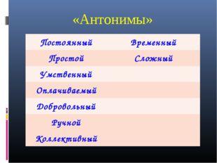 «Антонимы» ПостоянныйВременный ПростойСложный Умственный Оплачиваемый Доб