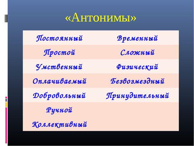 «Антонимы» ПостоянныйВременный ПростойСложный УмственныйФизический Оплачив...