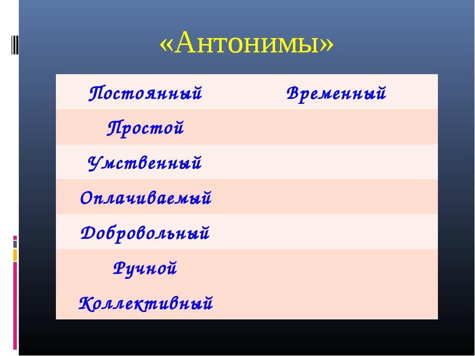 «Антонимы» ПостоянныйВременный Простой Умственный Оплачиваемый Добровольн...