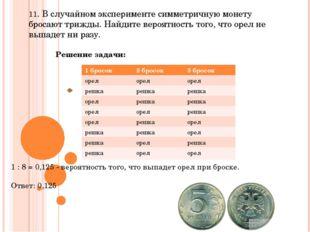 11. В случайном эксперименте симметричную монету бросают трижды. Найдите веро