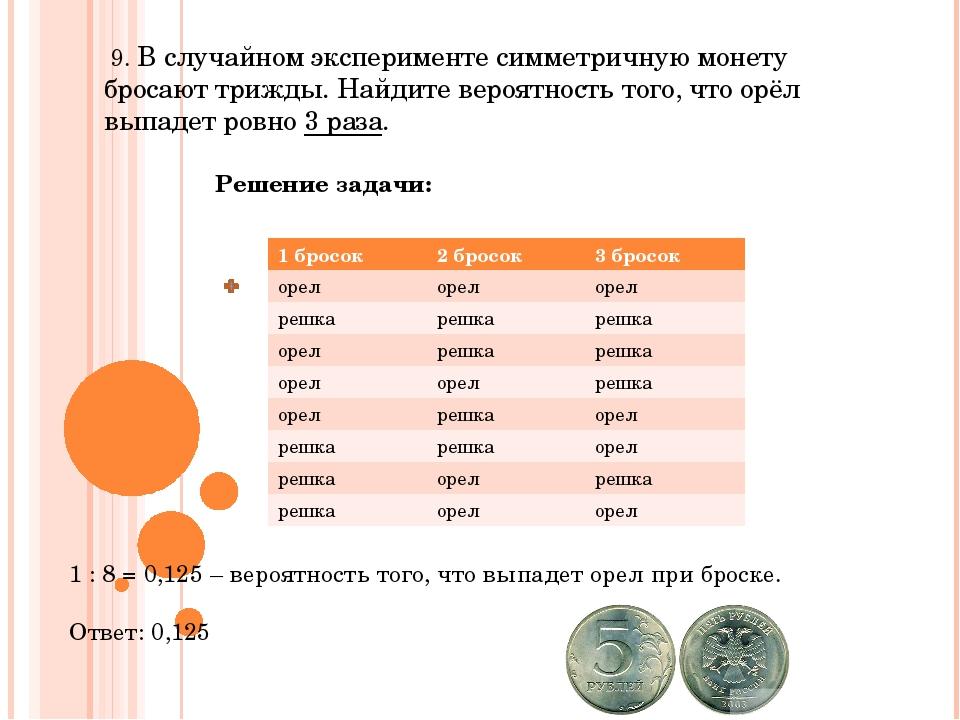 9. В случайном эксперименте симметричную монету бросают трижды. Найдите веро...