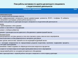 План работы наставника по адаптации молодого специалиста к педагогической де