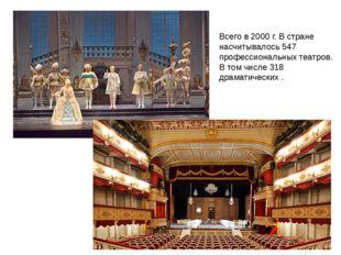 Всего в 2000 г. В стране насчитывалось 547 профессиональных театров. В том чи