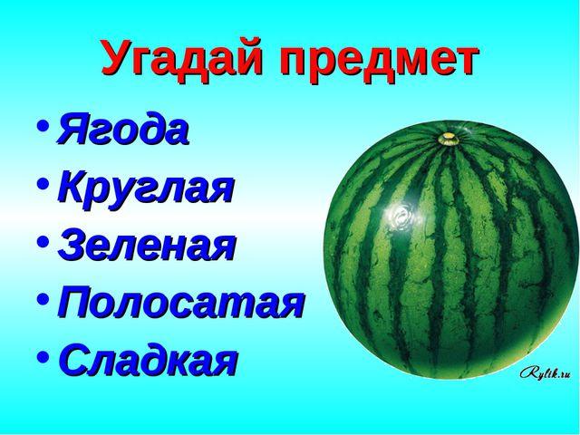 Угадай предмет Ягода Круглая Зеленая Полосатая Сладкая