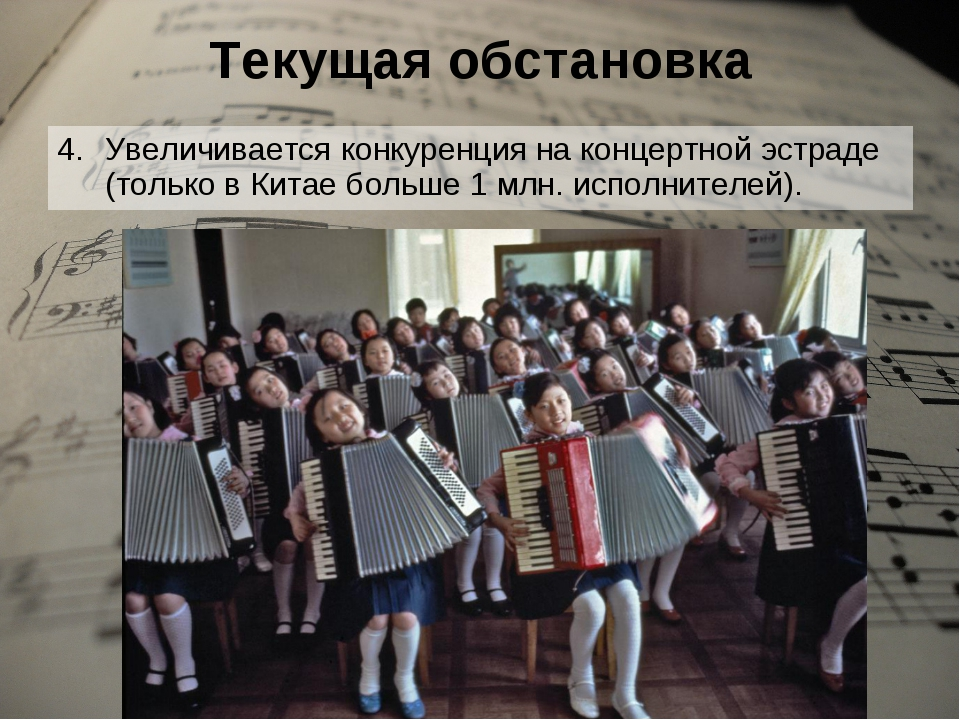 Текущая обстановка Увеличивается конкуренция на концертной эстраде (только в...