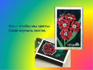 Это – чтобы мы цветы Сами изучать могли.