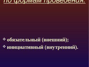по формам проведения: обязательный (внешний); инициативный (внутренний).