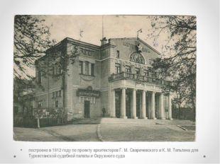 Народный дом и Музей искусств построено в 1912 году по проекту архитекторов Г