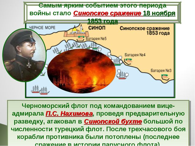 Черноморский флот под командованием вице-адмирала П.С. Нахимова, проведя пред...