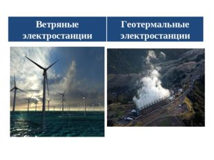 Ветряные электростанции Геотермальные электростанции