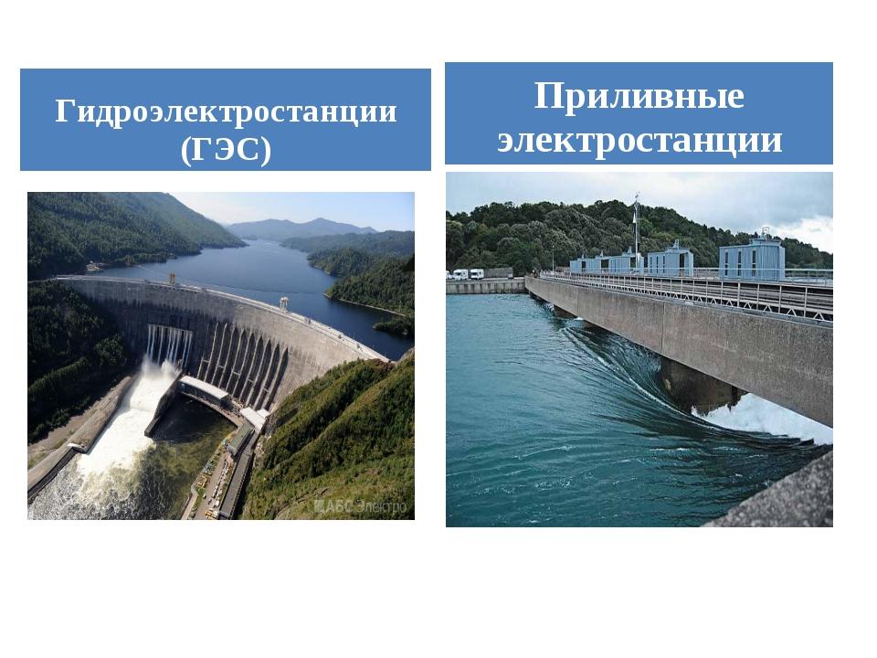 Гидроэлектростанции (ГЭС) Приливные электростанции