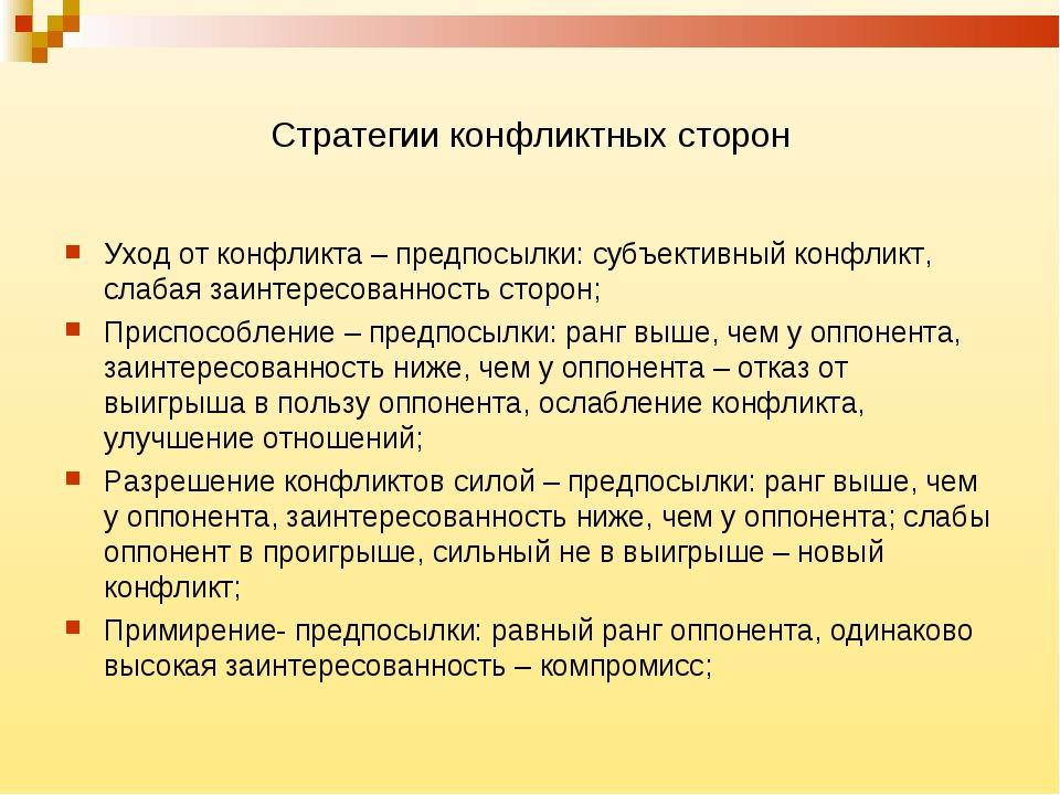Стратегии конфликтных сторон Уход от конфликта – предпосылки: субъективный ко...