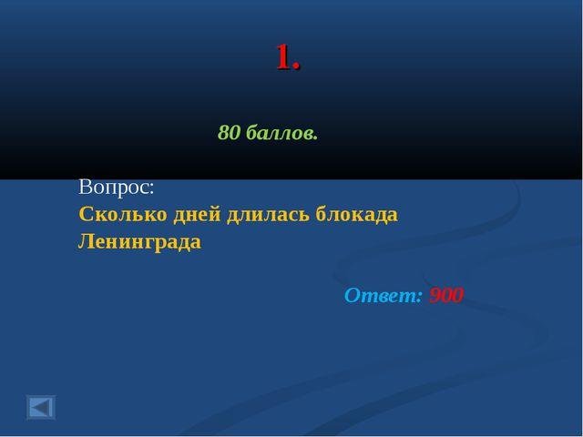 1. 80 баллов. Вопрос: Сколько дней длилась блокада Ленинграда Ответ: 900